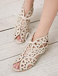 Zapatos de mujer - Tacón Bajo - Comfort - Sandalias - Oficina y Trabajo / Vestido - Semicuero - Negro / Marrón / Blanco