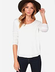 Women's Sexy/Casual/Cute/Work/Plus Sizes Micro-elastic Long Sleeve Regular T-shirt (Chiffon)