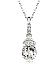 Blooms Talk Short Necklace Plated with 18K True Platinum Crystal Clear Crystallized Austrian Crystal Stones