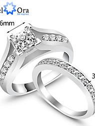 2Pcs/Set Wedding Engagament Ring Womens Rings Weddings & Events Classic Silver Rings Set