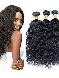 "3Pcs/Lot 8""-26"" Peruvian Virgin Hair Natural Black Color Water Wave Unprocessed Human Hair Weave"