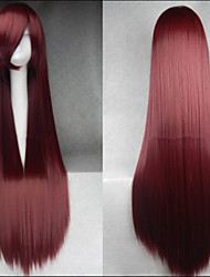 Hot Sale 40 Inches High Temperature Fiber Long Straight Wine Red Coffee Mixed Color Cosplay Costume Wig Side Bang