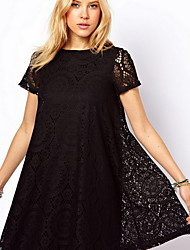 Women's Round Dresses , Lace Casual/Lace Short Sleeve summer