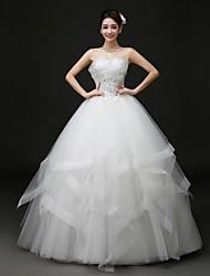 Ball Gown Floor-length Wedding Dress -Scalloped-Edge Tulle