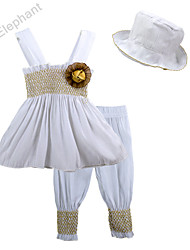 Big Elephant NEW 3pcs In White Baby Clothes Girl Set Dress Short Hat Kids Outfits 3-24Months A26-1