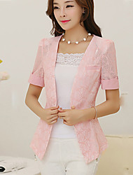 Women's Vintage Casual Work Medium Short Sleeve Regular Blazer (Chiffon Lace)