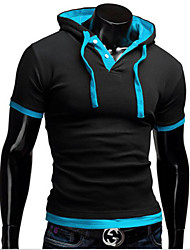 White Men's Casual Hoodie Short Sleeve T-Shirts