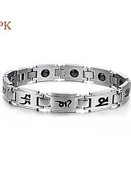 OPK®Fashion Titanium Black Gallstone Anti-radiation Anti-fatigue Ms Care Bracelet Six Words of Religion Beliefs