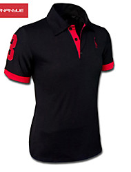 MANWAN WALK®Men's Embroidery Chest Logo Short Sleeve Slim Polo T-Shirt