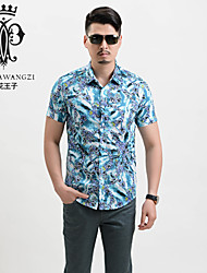 YINHUAWANGZI®Men's Exempt Iron Shirts 100% Cottons Casual/Slim Short Sleeves Printing Shirts