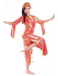 New Belly Dance Stage Performance one-piece dress with long sleeves -Set of 3 (dress, belt and coverchief)