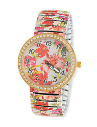 Women's  Fashion  Korean Style Diamonds Charm Flower Printing Spring Quartz Analog Wristwatch Cool Watches Unique Watches