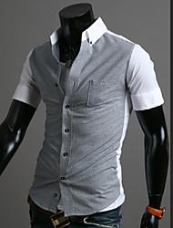 Chemises informelles ( Coton mélangé ) Informel Col chemise à Manches courtes pour Homme