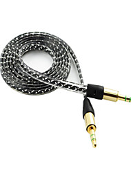 Macho de 3 pies de 3.5mm al cable auxiliar de audio que no se enreda masculina para apple ipad iphone ipod mp3 samsung galaxy color