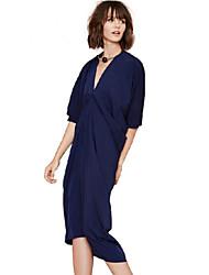 European Style New 2015 Spring Autumn Blue Half Lantern Sleeve V-Neck Three-dimensional Fold Dress Sexy Party Dresses