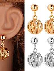 Fancy New Cute Hollow Ball Dangle Earrings 18K Gold Platinum Plated Jewelry for Women High Quality