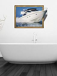 3d stickers muraux stickers muraux, blanc yacht Bathroom Wall décoration murale PVC autocollants
