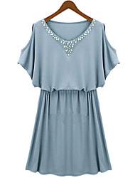 Feona Women's New European Slim Waisted Strapless Short Sleeve Dress