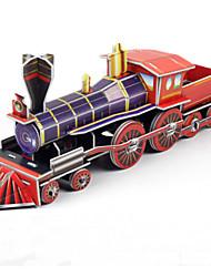 diy trem a vapor em forma de quebra-cabeça 3D