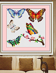 Butterfly Leather Craft Tools  Living Room Diamond Cross Stitch Needlework Wall Home Decor 31*31cm