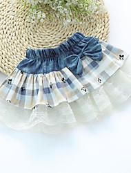 Girl's Sweet Waist Bow Decor Print Splice Lace Skirt