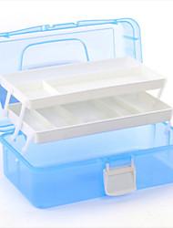 caixa de ferramentas da arte do prego de armazenamento utilitário multi 3 camada caixa de plástico (cor aleatória, 33 * 20 * 14,5
