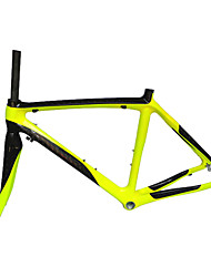 Neasty Brand 700C Full Carbon Fiber Frame and Fork 12K Bright Yellow Color bicycle frame 52/54/56CM 18C-23C Tire