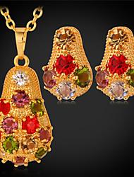 Набор украшений Имитация Алмазный Симпатичные Стиль Pоскошные ювелирные изделияСтразы Платиновое покрытие Позолота Имитация Алмазный