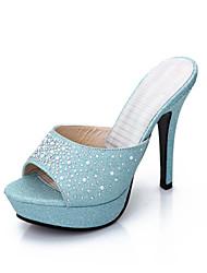 Sandalias (Azul/Plateado Tacones/Punta Abierta - Tacón de estilete - Cuero sintético - para MUJERES