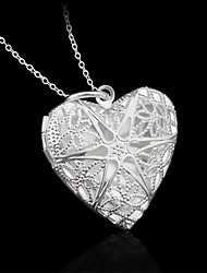 Ovixi The silver heart mesh flower frame necklace restoring ancient ways