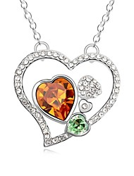 Secret Love Heart Short Necklace Plated with 18K True Platinum Smoked Topaz Crystallized Austrian Crystal Stones