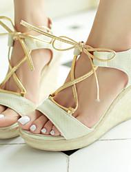 Women's Shoes Wedge Heel Wedges/Slingback Sandals Dress Green/Beige