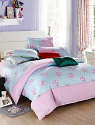 Mingjie BLue and Pink Flowers Bedding Sets 4pcs Duvet Cover Sets Bed Linen China Queen Size and Full Size