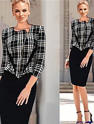 Robes ( Coton/Polyester ) Bodycon/Informel/Soirée Rond à Manches longues