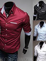 2015 nova moda de lazer cinco trimestre cor da camisa de manga quente