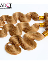 "3pcs 14-28 ""Cinderella hair extensions honing blonde Maleisische lichaam wave virgin remy human hair weave bundelt 7a kleur 27"