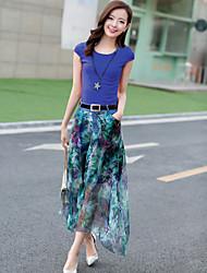 Women's Fashion Chiffon Belt Suit(T-shirt & Skirt)