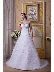 Ball Gown Wedding Dress Court Train One Shoulder Tulle