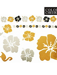 1Pc Gold Silver Black Flowers Tattoo Sticker 23x15.5CM Good Duality