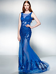 Homecoming Formal Evening Dress - Royal Blue A-line Jewel Sweep/Brush Train Lace/Tulle