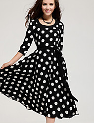 Women's Sexy Casual Cute Plus Sizes Inelastic ¾ Sleeve Midi Dress (Chiffon)