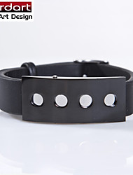 Black Genuine Leather Bangle with IP Black 316L Stainless Steel Band Length Adjustable for Unisex