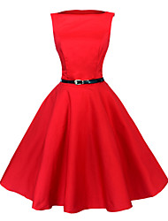 Maggie Tang Women's Black/Red/Blue 50s Vintage Swing Midi Dress