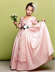 A-line Princess Floor-length Flower Girl Dress - Taffeta Square with Flower(s) Lace