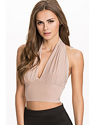 Women's Milk Halter Neck Crop Top