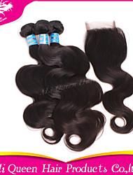 Ali Queen Hair Products 3Pcs 6A Peruvian Virgin Hair body Wave Wifh 1Pcs 4*4 Swiss Lace Closures 100% human hair
