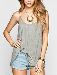 Women's Casual Straps Sleeveless Tops & Blouses (Cotton)