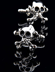 Fashion Copper Men Gift Jewelry Silver Plated Skull Skeleton Black Enamel Shirt Button Cufflinks(1Pair)