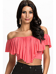 Women's Flouncing Ruffles Off-Shoulder Crop Tops