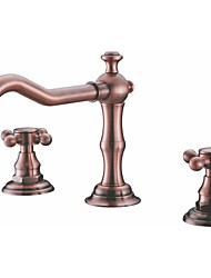 Deck Mount Bath Tub Faucet Two Handles Long Spout Antique Inspired Solid Brass Bathroom Sink and Bathtub Mixer Taps